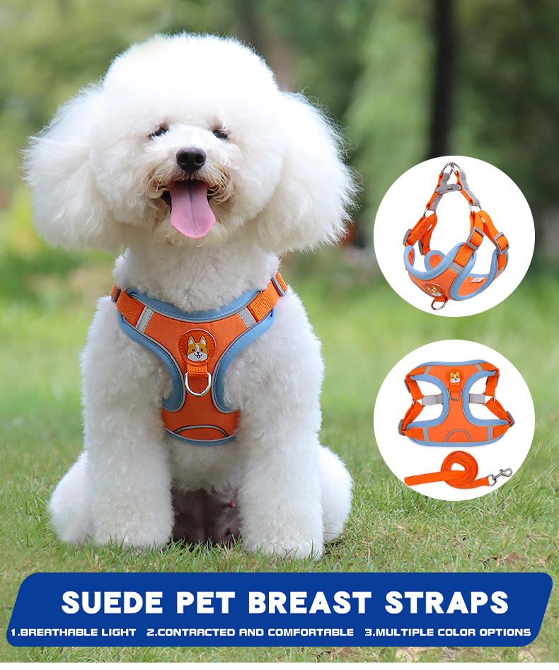 Suede Reflctive Adjustable Dog Harness And Leash Set Cat Vest Walking Lead Leash For Small Medium Chihuahu Puppy Pet Supplies 1