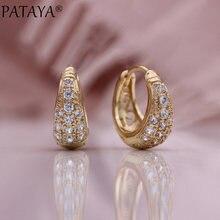 PATAYA – boucles d'oreilles en forme de goutte d'eau pour femmes, nouvelle collection, Micro-cire incrustée, cercle en or Rose, Zircon naturel, bijoux à la mode, 585
