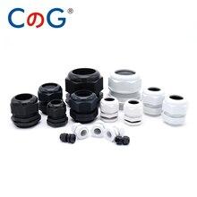 10 шт. IP68 PG7 для 3-6,5 мм PG9 PG11 PG13.5 PG16 PG19 провода кабель CE белый черный Водонепроницаемый Нейлон Пластик кабельный ввод Разъем