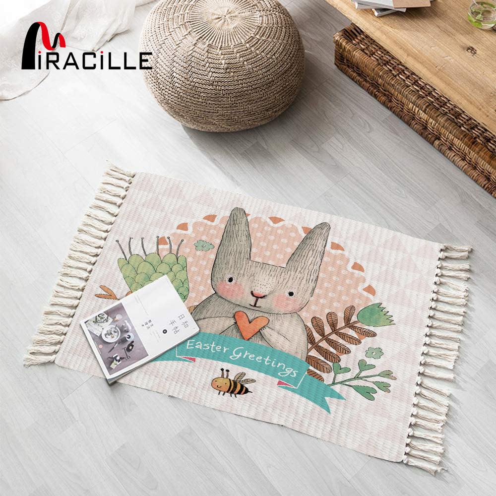 Miracille Cotton Area Rug With Tassel Cartoon Rabbit Hand Woven Print Carpet For Bedroom Kitchen Laundry Room Door Mat