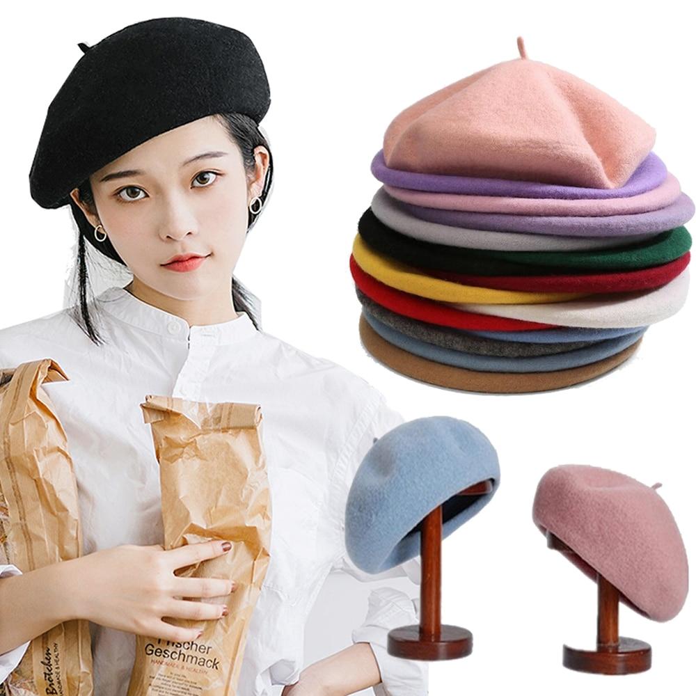 Женский берет для девочек, французский художник, теплая шерстяная зимняя шапка, шапка, винтажный простой берет, шапки, однотонные элегантны...