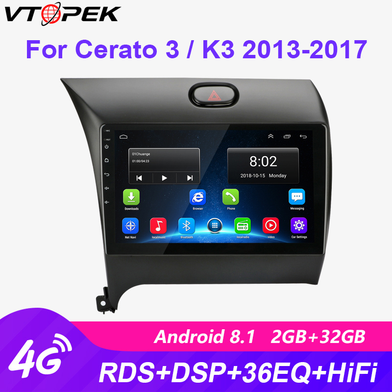 Vtopek 2din 4G+Wifi Android Car Radio Multimedia Video Player Navigation GPS For Kia K3 Cerato Forte 2013-2017 3 YD Tuner 2 Din