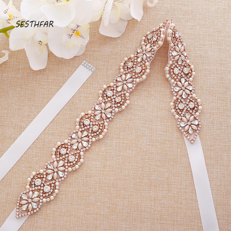 Rhinestones Bridal Belt Pearls Wedding Belt Simple Crystal Bridal Sash Rose Gold  For Wedding Evening Dresses J175RG