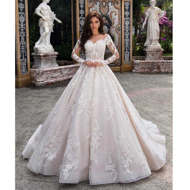 Elegant Ball Gown Wedding Dress 2021 Lace Princess Satin Belt Beading Appliques Bridal Muslim Bride Gowns Vestido De Noiva 1