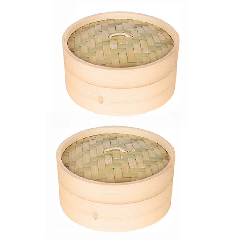 2X Cage And One Cover Cooking Bamboo Steamer Fish Rice Vegetable Snack Basket Set Kitchen Cooking Tools,L & S