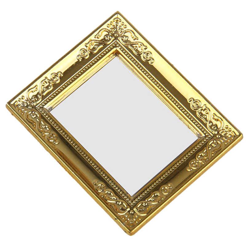 1/12 casa de muñecas marco dorado espejo