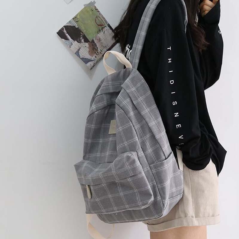 Women Backpack Rucksack Travel-Shoulder-Bag Teenage College Striped Girl Fashion Simple