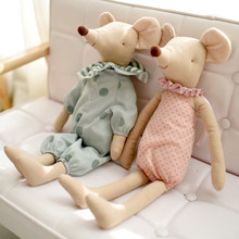 Kids Toy Little and Cute Pink Cotton Bowknot and Green Bowknot Mouse Doll Stuffed Toy