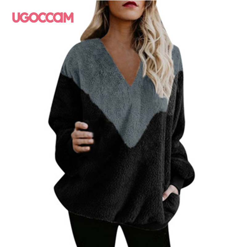 UGOCCAM Splice Hoody Women V-Neck Fashion Autumn Loose Pullovers Coat Female Blouse Female Jumpers 2020 Ladies Tops