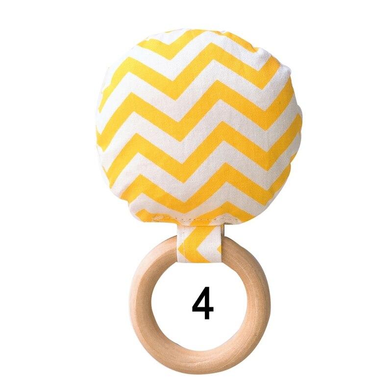 Новорожденный ребенок прорезыватель кольцо Жевательная Прорезыватель портативный ручной безопасная, из дерева натуральное кольцо детские зубы упражняющая игрушка подарок - Цвет: D