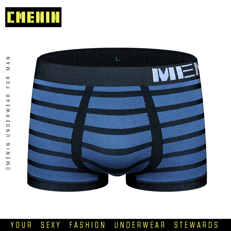 2020 New Breathable Sexy Men Underwear Boxer Shorts Striped Underware Cotton Mens Boxershorts Underware Boxers Freegun M0041