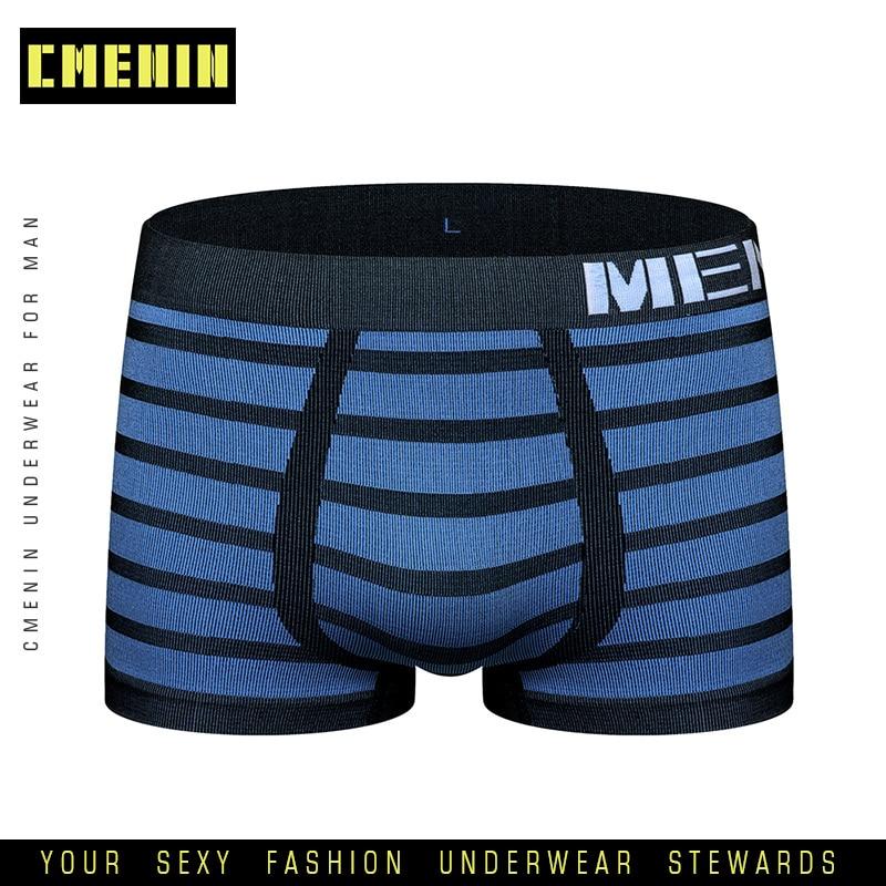 2020 New Breathable Sexy Men Underwear Boxer Shorts Striped Underware Cotton Mens Boxershorts Underware Boxers Freegun M0041