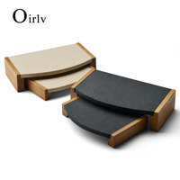 Oirlv 2 Pieces /set Wooden bracelet bangle Pendant Ring display stand with microfiber multifunctional jewelry Holder Showcase