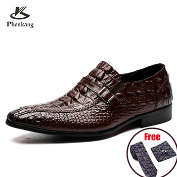 Phenkang mens formal shoes genuine leather crocodile oxford shoes for men black wedding shoes slipon leather  dress shoes 2020 luxury brand designer genuine leather mens wholecut oxford shoes for men black brown dress shoes business office formal shoes