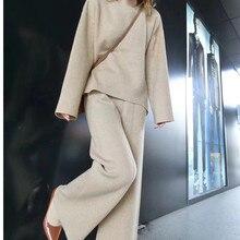 CABFU tricô calças de terno das mulheres conjunto outono inverno solto agasalho quente capuz da camisola calças largas pernas set knitting P405