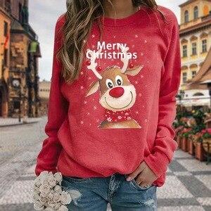 Christmas Women Sweatshirt Casual Plus Size Christmas Elk Printing Tops Women 2021 O Neck Long Sleeve Pullover Streetwear