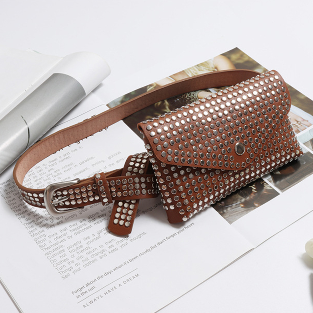Women Multi-use Casual Adjustable Belt Purse Gift Fashion Rivets Fanny Pack Travel Phone Pouch Waist Bag Punk Style Luxury Small