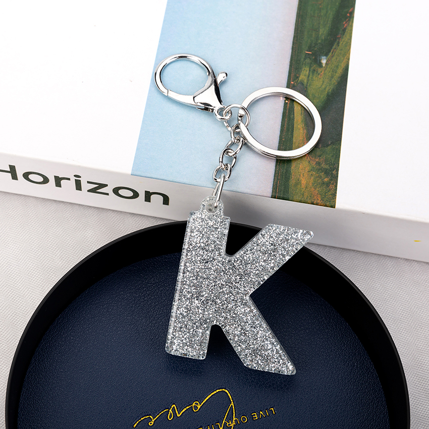 1PC Women Keychains  Handbag  Car Pendants English Letter Keyring  Charms   Glitter Resin Word Custom Made Welcome