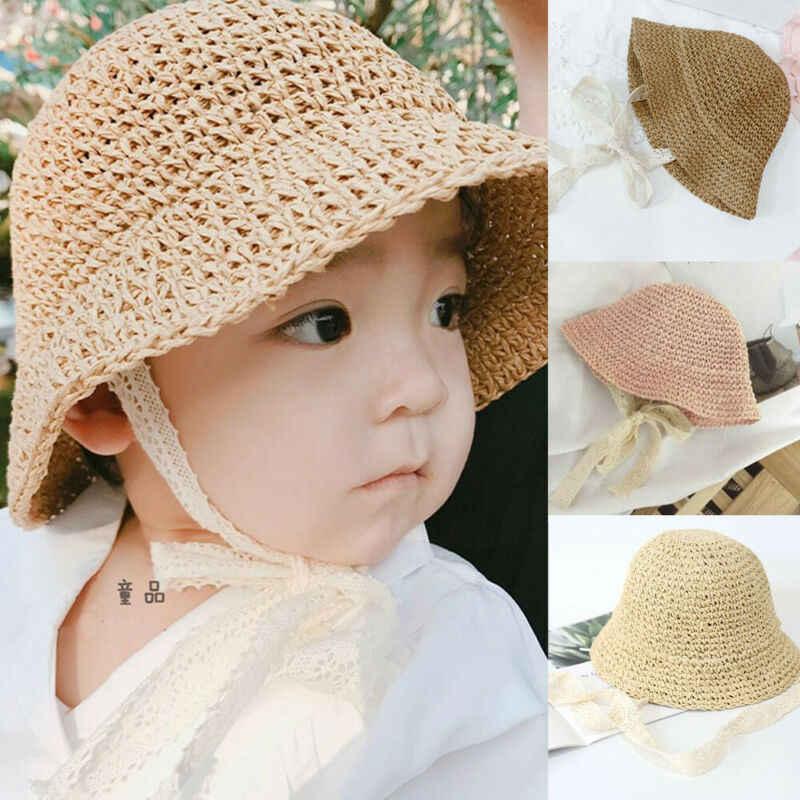 Kobiety dziewczynka rodzina kapelusz lato księżniczka słomka koronkowa czapka przeciwsłoneczna kapelusz typu Bucket 6M-4Y