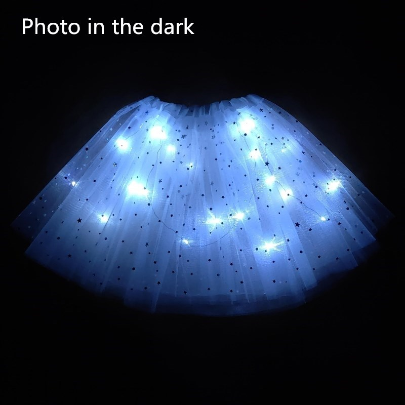 2020 New Light LED Girl Kids Clothes Star Tutu Skirt Princess Party Tutus Tulle Pettiskirt Child Ballet Dance Halloween White