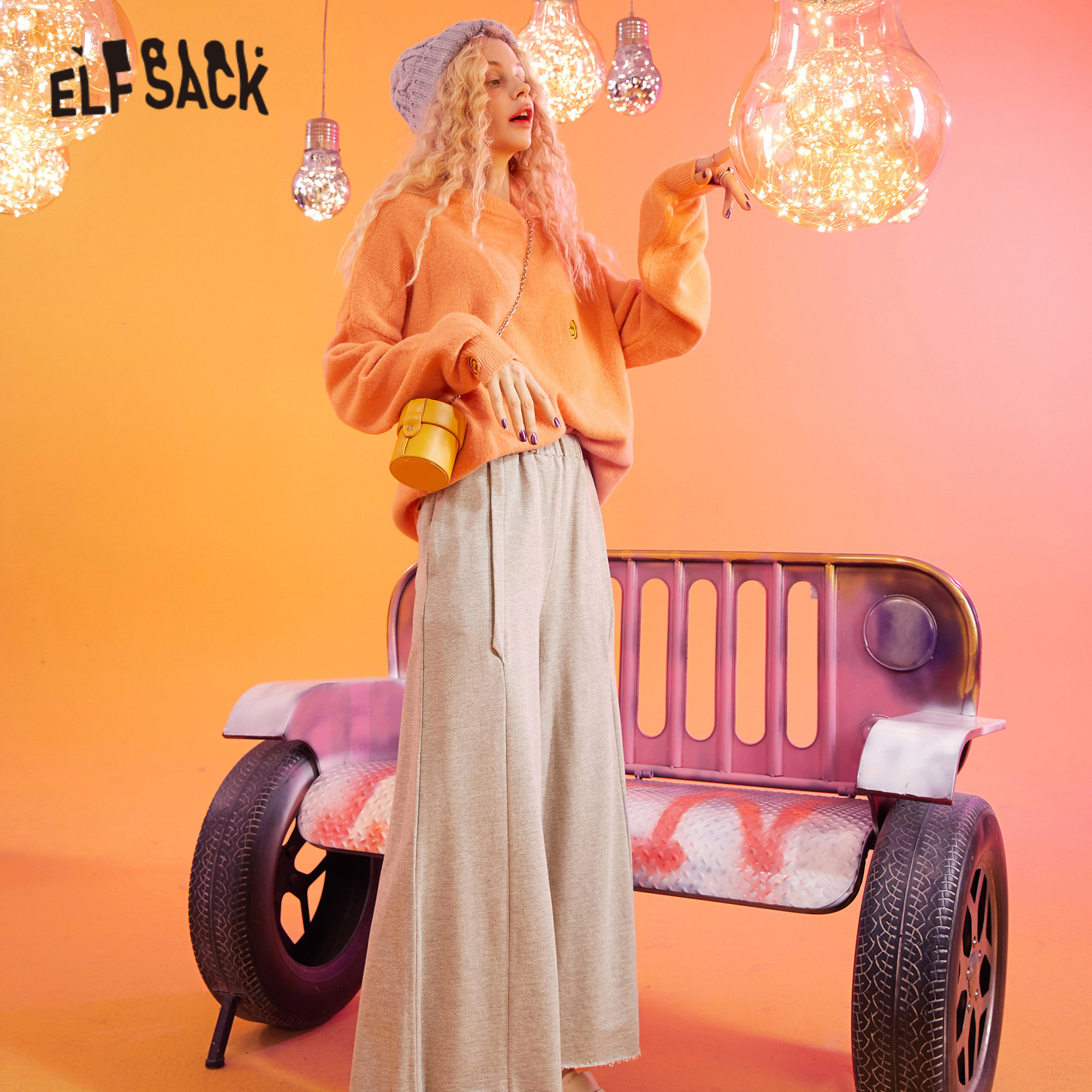 ELFSACK Gray Solid Elastic Waist Loose Casual Women Wide Leg Trousers 2020 Spring Pure Korean Ladies Basic Ankle Length Pants