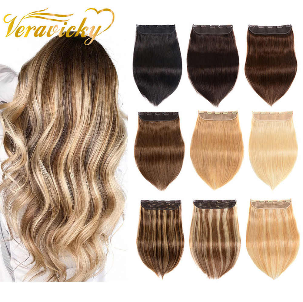 "80g-120g 14""-22"" Machine Made Remy Hair One Piece Set 5 Clips in 100% Human Hair Extensions 1pcs Hair Brazilian Natural Straight"