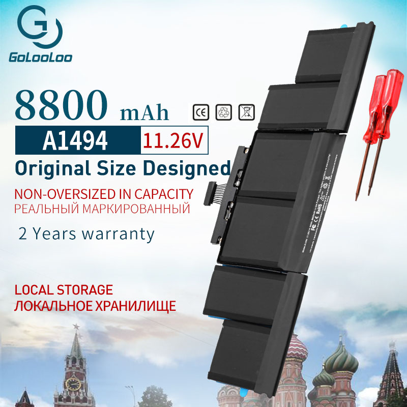 """Golooloo 8800mAh A1494 Laptop Battery for Apple Macbook Pro 15"""" A1398 Retina Late 2013&Mid 2014 ME293 ME294 Srewdriver Battery"""