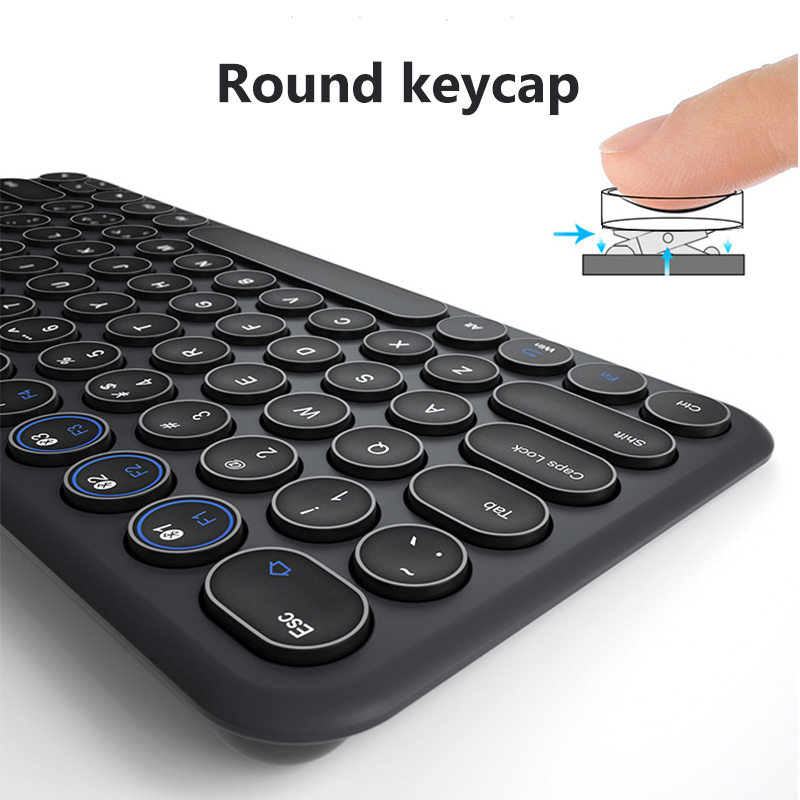 Image 4 - Round Keycap Bluetooth Keyboard Wireless Silent Gaming Keyboard For Macbook Pro iPhone iPad Tablet Ultra slim Computer KeyboardKeyboards   - AliExpress