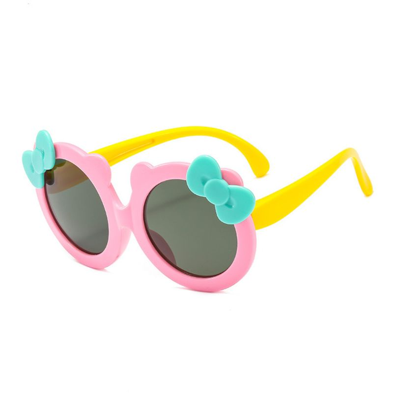 Детские поляризованные солнцезащитные очки для девочек, милые Солнцезащитные очки с бантом, силиконовые защитные очки UV400 - Цвет линз: PK