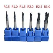6Pcs Tungsten Carbide Radiusfrees Set Cnc Machine Frees Ø 1Mm 6Mm Metaalbewerking HRC45 HRC55 HRC58 HRC62 HRC68