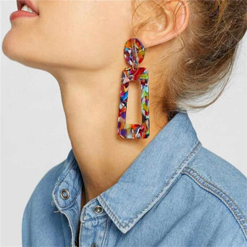 2019 New Fashion Leopard Grain Multi-Color Big Hook Acrylic Earrings Special Design square Resin Drop Earring ZA Brinco 2019 New