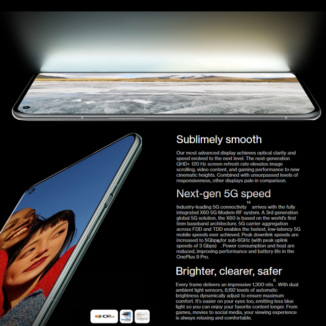 Original Global Firmware Oneplus 9 Pro 5G SmartPhone 6.7 inch 120Hz LTPO AMOLED Snapdragon 888 Octa Core 65W FastCharge 5