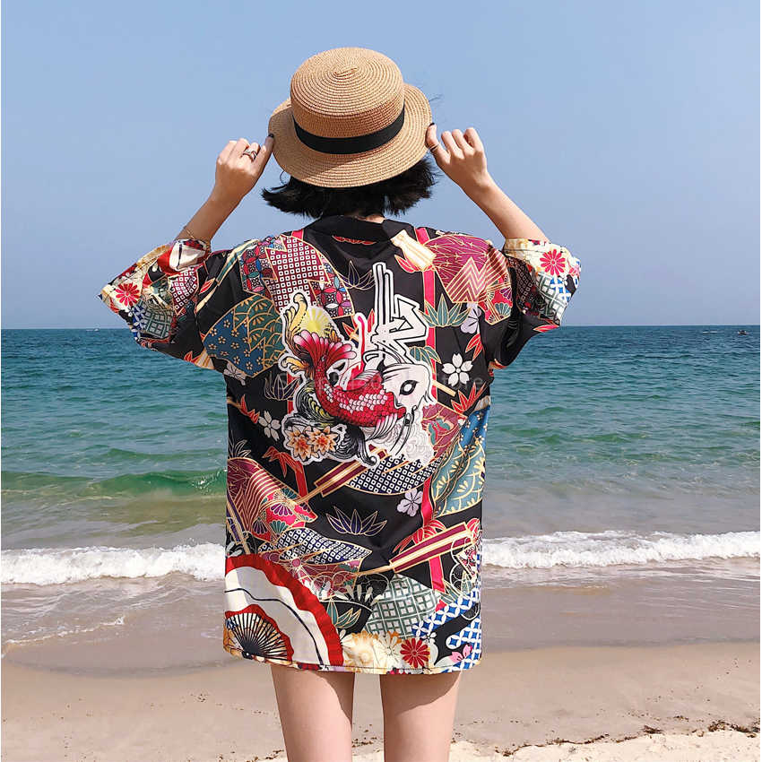 Japońskie kimono tradycyjne Yukata Unisex Haori Harajuku styl kardigan samuraj karpia koszula plaża Streetwear Cosplay Vintage Obi