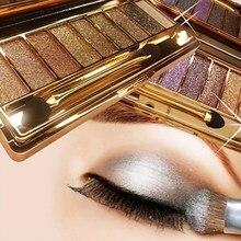 Sombra de olho profissional pallete maquiagem 9 cores diamante brilho brilhante brilhante sombra de olho compõem paleta à prova dwaterproof água com escova