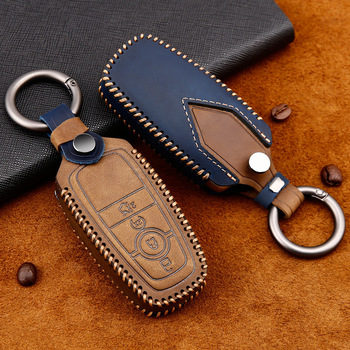 Leather Car Key Case Cover For Ford Fiesta Focus 23 MK2 MK3 Mondeo MK4 Ecosport Kuga Escape Explorer Ranger Ring