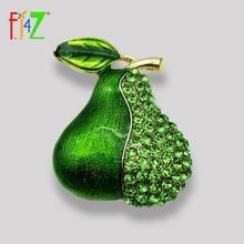 F.J4Z New Fashion Plant Brooches Green Enamel Pear Shinning Rhinestone Costume Pins for Women Gift Jewelry Accessories Bijoux