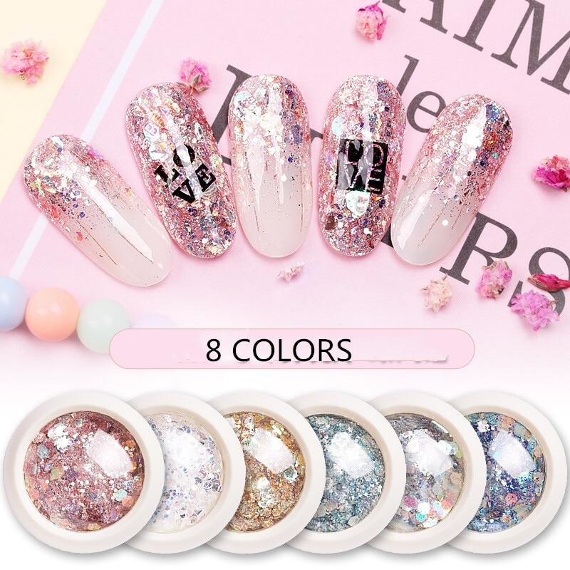 KZS001 One Box Holo Nail Art Glitter Flakes Mermaid Hexagon Sequins Shiny Chrome Pigment Powder for Gel Nail Art Decoration Tip