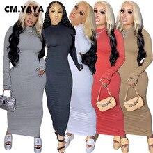 CM.YAYA Lucky Lable Embroidery Women Long Sleeve Open Back Sexy Boycon Midi Maxi Dress Club Party Night Long Pencil Dresses