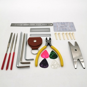 Image 4 - Gitaar Repareren Tool Kit(26Pcs) Draad Tang, String Organizer, Toets Protector,Hex Sleutels, bestanden, String Heerser Action Regel