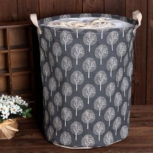 Cysincos Large Drawstring Linen Cotton Storage Baskets Bucket Dustproof Storage Barrel Toy Storage Basket Dirty Clothes Baskets