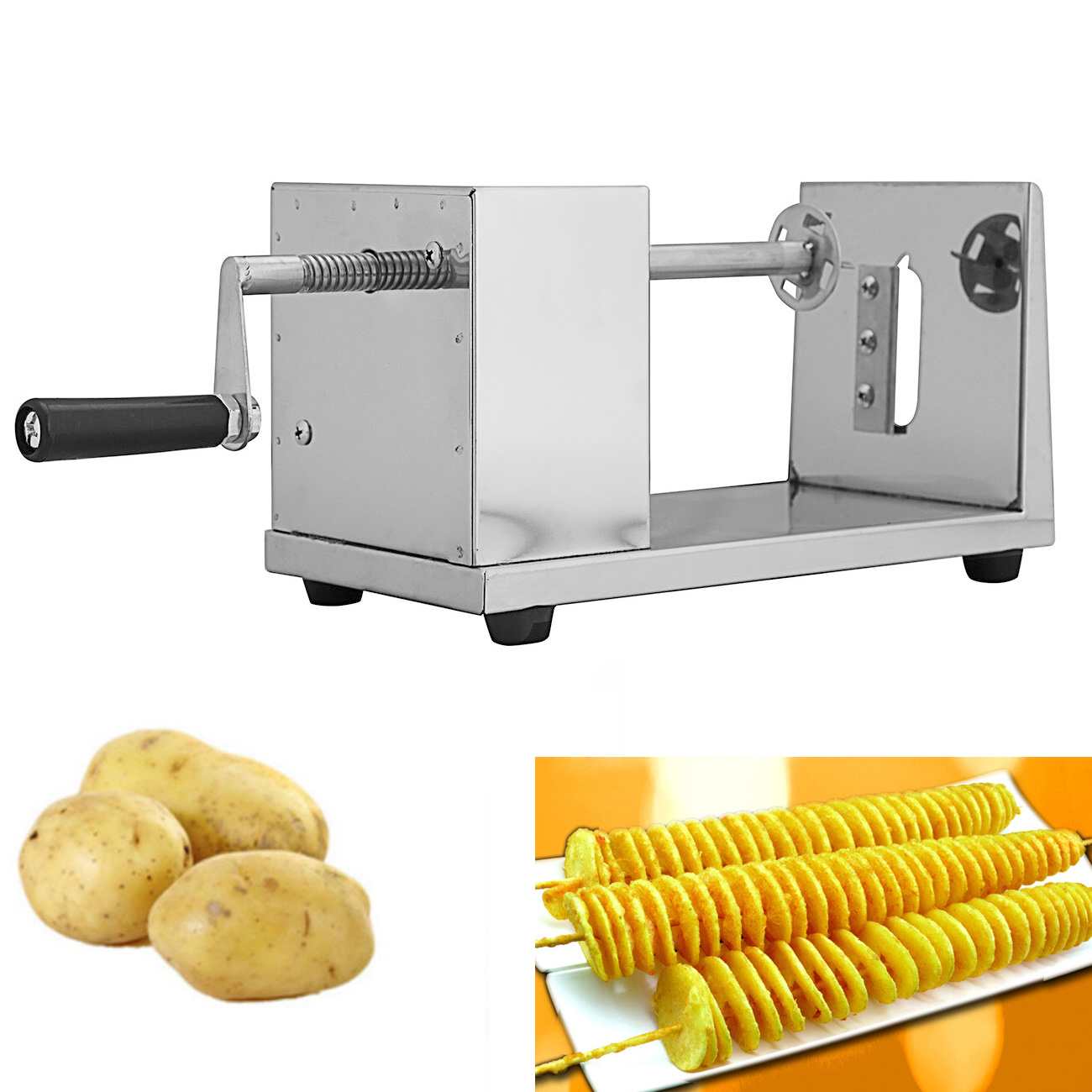 Manual Potato Tower Stainless Steel Twisted Spiral Potato Slicer French Fry Tornado Fruit & Vegetable Cutter Kitchen Tools