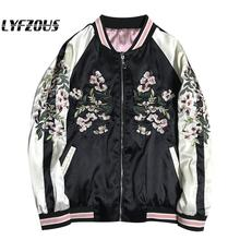 LYFZOUS Floral Crane Embroidery Bomber Jacket Women Harajuku