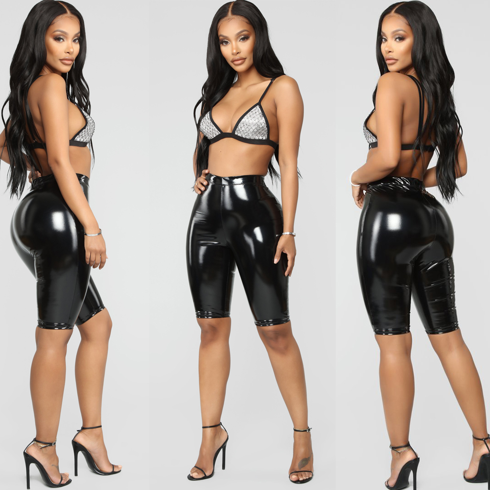 HOT Womens Sexy Shiny Capris PU Leather Capri Pants Joggers Women Slim Fit High Waist Solid Shorts Bodycon Short Pants