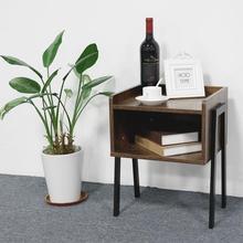 Fast Delivery Bedroom Furniture Living Room Bedside Table Nightstand Corner Cabinet Rubber Wood Bedside Table HWC