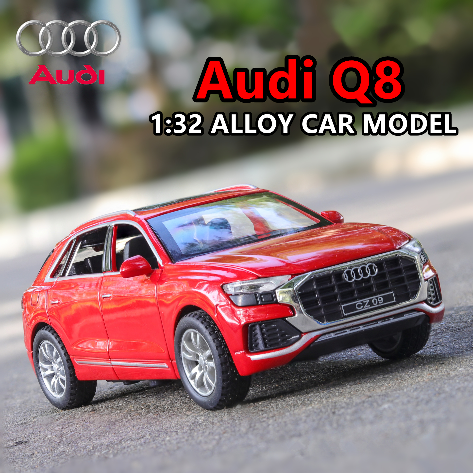 1:32 Audi Q8 simulation with sound and light alloy toy car model collection gift pull-back vehicle