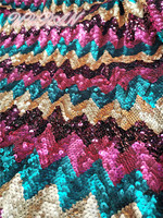 Fushia Pink Gold Sequin Fabric Stretch Spandex Embroidered Mesh African Lace Sequin Fabric for Dress DIY