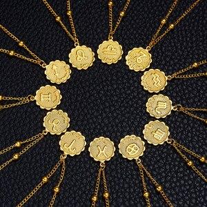 Zodiac Sign Necklace 12 Constellation Necklaces Round Coin Clavicle Chain Horoscope Jewelry Virgo Taurus Leo Gemini Bijoux Femme