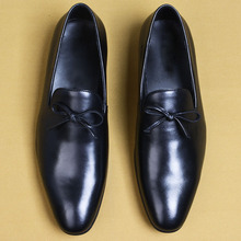 2019 New Slip-On Genuine Cow Leather Loafers Shoes Flat Pointed Toe Customized Mens Casual Oxford Office Formal