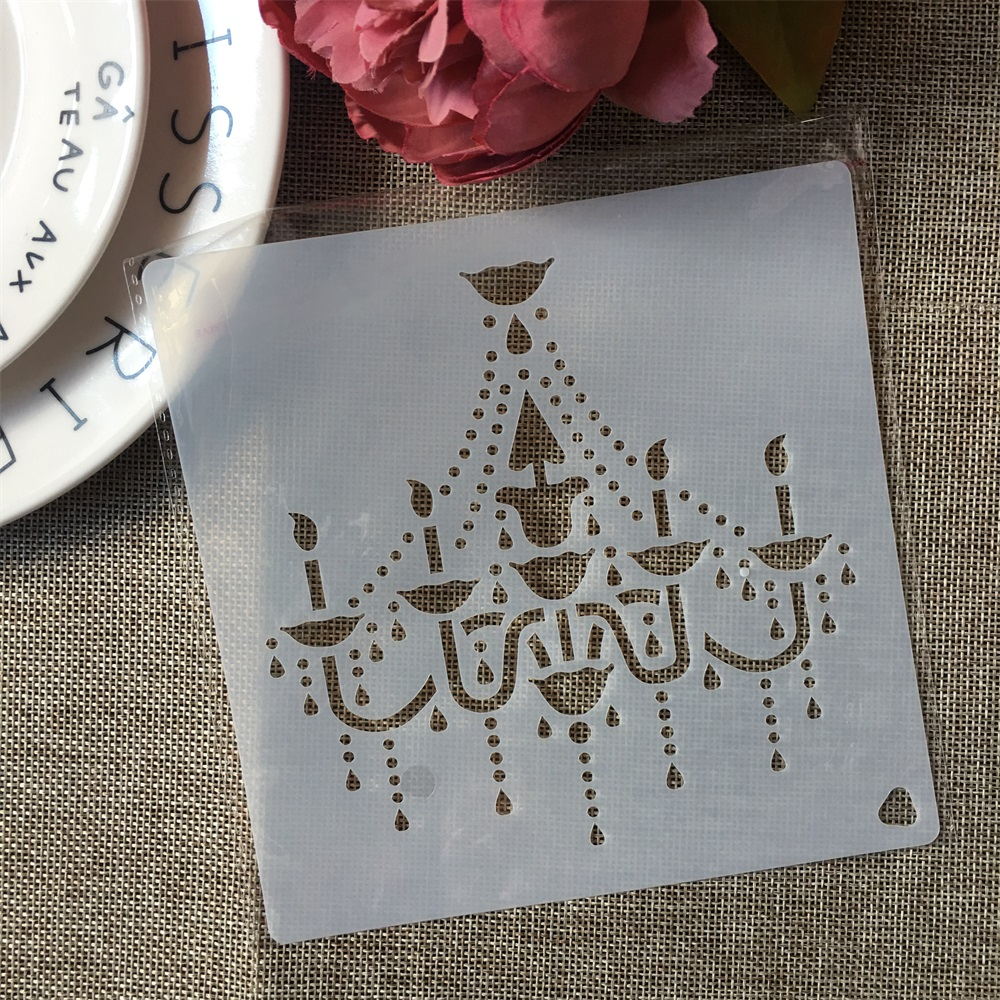 15*15cm Chandelier Light DIY Layering Stencils Painting Scrapbook Coloring Embossing Album Decorative Template