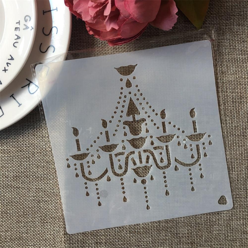 15*15cm Chandelier Light DIY Layering Stencils Painting Scrapbook Coloring Embossing Album Decorative Template